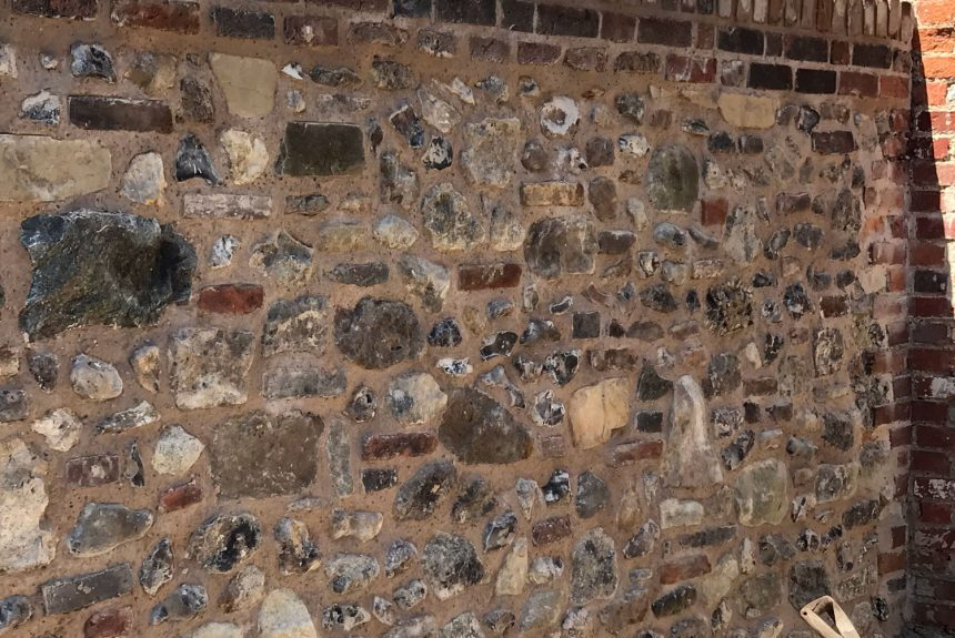 The completed flint stone wall in Chichester